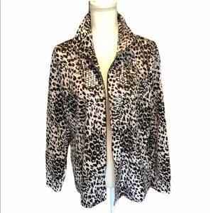 Misook Black White Animal Printed Sequin Jacket L